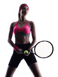 Woman tennis player portrait silhouette Royalty Free Stock Photos