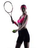 Woman tennis player portrait silhouette Stock Image