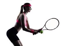Woman tennis player portrait silhouette Royalty Free Stock Photography