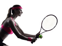 Woman tennis player portrait silhouette Stock Image