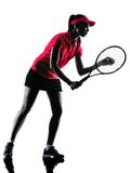Woman tennis player sadness silhouette. One woman tennis player sadness in studio silhouette isolated on white background Royalty Free Stock Photo