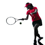 Woman tennis player sadness silhouette. One woman tennis player sadness in studio silhouette isolated on white background Stock Photography