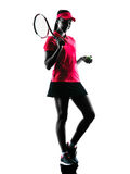 Woman tennis player sadness silhouette. One woman tennis player sadness in studio silhouette isolated on white background Stock Image