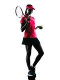 Woman tennis player sadness silhouette Stock Image