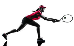 Woman tennis player sadness silhouette Royalty Free Stock Image