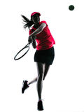 Woman tennis player sadness silhouette. One woman tennis player sadness in studio silhouette isolated on white background Royalty Free Stock Image
