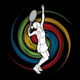 Woman tennis player serve Royalty Free Stock Photo