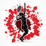 Woman tennis player serve. Graphic vector Royalty Free Stock Image