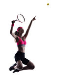 Woman tennis player silhouette Stock Photo