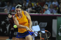 Woman tennis player Simona Halep during a game. CLUJ-NAPOCA, ROMANIA - APRIL 17, 2016: WTA 6 ranked woman tennis player Simona Halep plays against Angelique stock photo