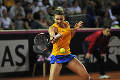 Woman tennis player Simona Halep during a game Royalty Free Stock Images