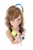 Woman with tennis racket Stock Photos