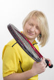 Woman with a tennis racket Royalty Free Stock Images