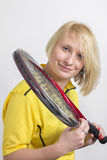 Woman with a tennis racket Stock Photo