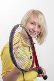 Woman with a tennis racket Stock Image