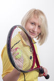 Woman with a tennis racket Royalty Free Stock Image