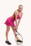 Woman with tennis racket on white background Royalty Free Stock Image
