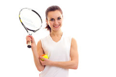 Woman with tennis racquet and ball Royalty Free Stock Photo