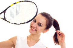 Woman with tennis racquet Royalty Free Stock Images