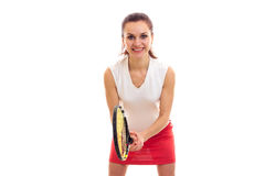 Woman with tennis racquet Royalty Free Stock Photo