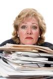 Woman tense work pile stock photo