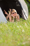 Woman in tent Stock Image