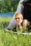 Woman in tent Royalty Free Stock Photography
