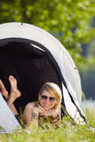 Woman in tent Royalty Free Stock Images