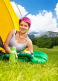 Woman in the tent Royalty Free Stock Images