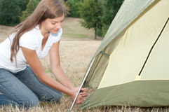 Woman tent camping. Young woman building on a tent stock photography