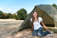 Woman tent camping Stock Photography