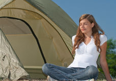 Woman tent relaxation Royalty Free Stock Images