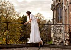 Woman terrace castle park Stock Image