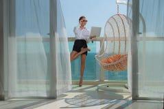 Woman on terrace stock image