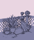 Woman on terrace. Vector drawing Stock Photography