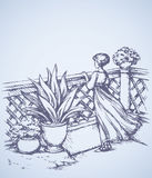 Woman on terrace. Vector drawing Royalty Free Stock Image