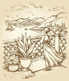 Woman on terrace. Vector drawing Stock Image