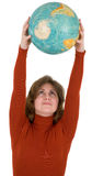 Woman and terrestrial globe Stock Image