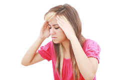 Woman with terrible headache or big problem Royalty Free Stock Photos