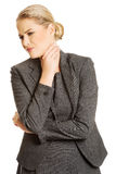 Woman with terrible throat pain Stock Photography