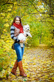 Woman with terrier royalty free stock photo
