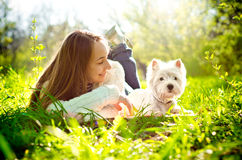 Woman with terrier Royalty Free Stock Image