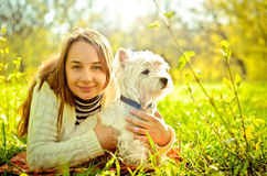 Woman with terrier Royalty Free Stock Images