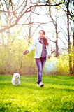Woman with terrier Stock Photography