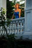 Woman on a territory of the old mansion Royalty Free Stock Photos