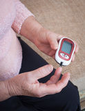 Woman testing for high blood sugar. Royalty Free Stock Photos
