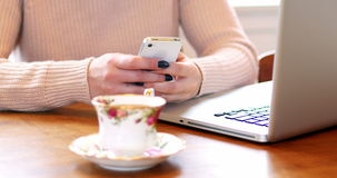 Woman text messaging on mobile phone. Mid section of woman text messaging on mobile phone at home stock footage
