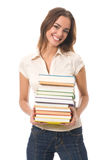 Woman with textbooks, isolated Stock Images