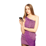 Woman texting on her cell phone isolated on whit Stock Photo