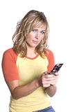Woman texting looking Stock Image